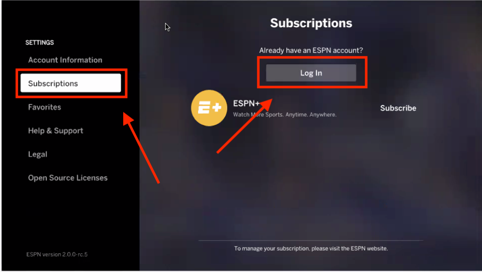 Samsung Smart TV – ESPN+
