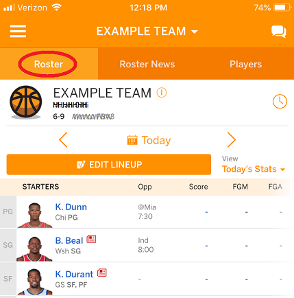 Setting Your Lineup – ESPN Customer Care